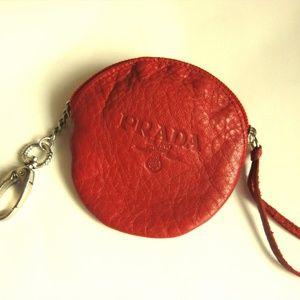Vintage Red Prada Leather Coin Purse Wallet